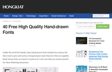 http://www.hongkiat.com/blog/40-free-high-quality-hand-drawn-fonts/