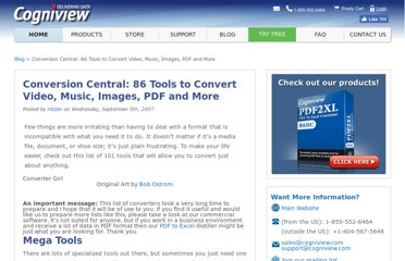 http://www.cogniview.com/convert-pdf-to-excel/post/conversion-central-101-tools-to-convert-video-music-images-pdf-and-more/
