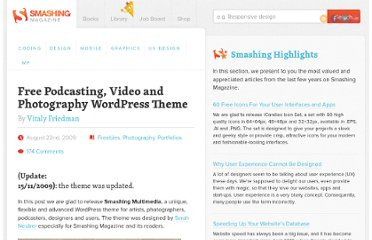 http://www.smashingmagazine.com/2009/08/22/free-podcasting-video-and-photography-wordpress-theme/