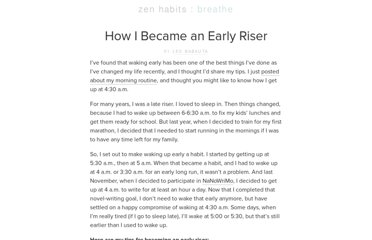 http://zenhabits.net/how-i-became-early-riser/