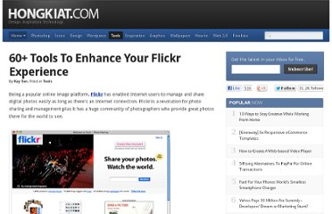http://www.hongkiat.com/blog/60-tools-to-enhance-your-flickr-experience/
