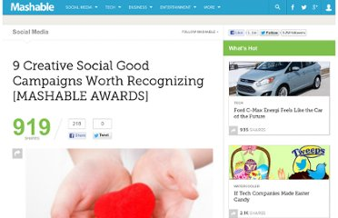 http://mashable.com/2010/09/30/creative-social-good-campaigns/