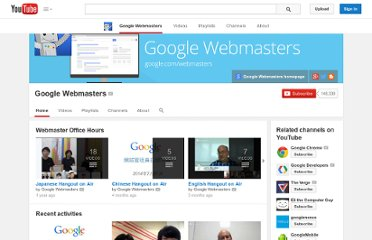 http://www.youtube.com/user/GoogleWebmasterHelp