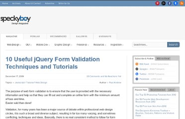 http://speckyboy.com/2009/12/17/10-useful-jquery-form-validation-techniques-and-tutorials-2/