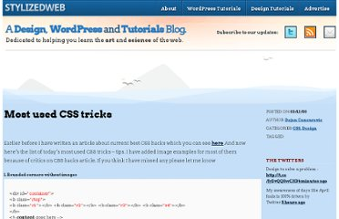 http://stylizedweb.com/2008/03/12/most-used-css-tricks/