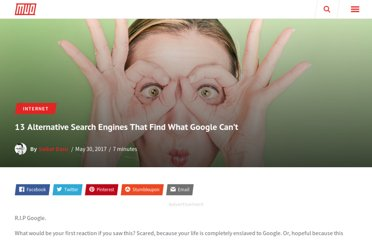 http://www.makeuseof.com/tag/13-alternative-search-engines-that-find-what-google-cant/