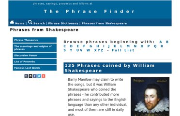 http://www.phrases.org.uk/meanings/phrases-sayings-shakespeare.html