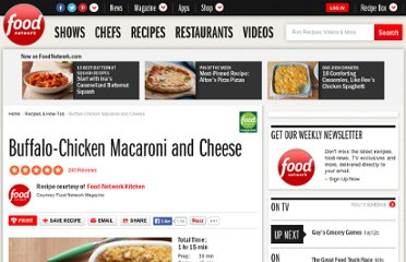 http://www.foodnetwork.com/recipes/food-network-kitchens/buffalo-chicken-macaroni-and-cheese-recipe/index.html