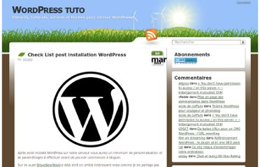 http://wordpress-tuto.fr/check-list-installation-wordpress-1110