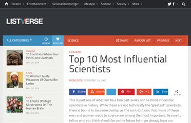 http://listverse.com/2009/02/24/top-10-most-influential-scientists/