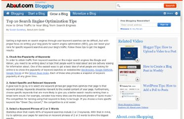 http://weblogs.about.com/od/searchengineoptimization/tp/Top10SEOTips.htm