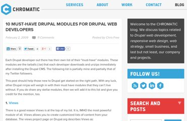 http://www.chromaticsites.com/blog/10-must-have-drupal-modules-for-drupal-web-developers/