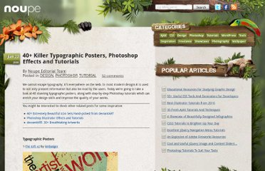 http://www.noupe.com/design/40-killer-typographic-posters-photoshop-effects-and-tutorials.html