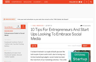 http://thenextweb.com/socialmedia/2010/09/22/10-tips-for-entrepreneurs-and-start-ups-looking-to-embrace-social-media/