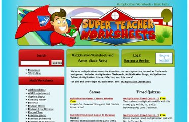 http://www.superteacherworksheets.com/multiplication.html