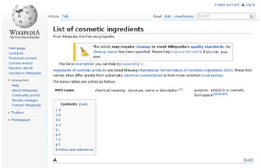http://en.wikipedia.org/wiki/List_of_cosmetic_ingredients