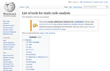 http://en.wikipedia.org/wiki/List_of_tools_for_static_code_analysis