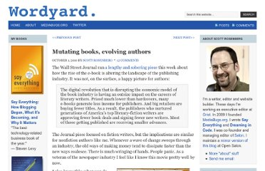http://www.wordyard.com/2010/10/01/mutating-books-evolving-authors/