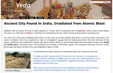 http://veda.wikidot.com/ancient-city-found-in-india-irradiated-from-atomic-blast