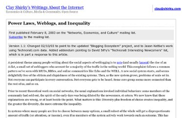 http://www.shirky.com/writings/powerlaw_weblog.html