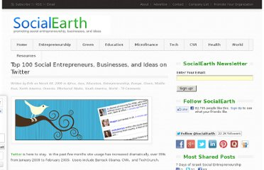 http://www.socialearth.org/top-100-social-entrepreneurs-businesses-and-ideas-on-twitter