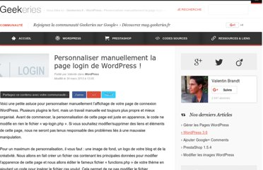 http://www.geekeries.fr/wordpress/personnaliser-manuellement-page-login-wordpress-3124