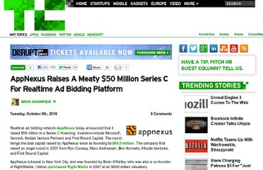 http://techcrunch.com/2010/10/05/appnexus-raises-a-whopping-50-million-series-c-for-realtime-ad-bidding-network/