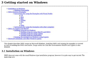 http://www.swig.org/Doc1.3/Windows.html