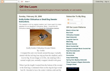 http://lindasloomroom.blogspot.com/2006/02/knifty-knitter-chihuahua-or-small-dog.html
