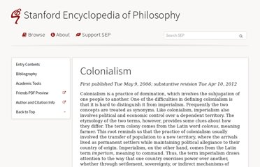 http://plato.stanford.edu/entries/colonialism/