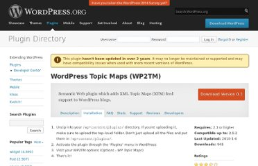 http://wordpress.org/extend/plugins/wordpress-topic-maps-wp2tm/installation/
