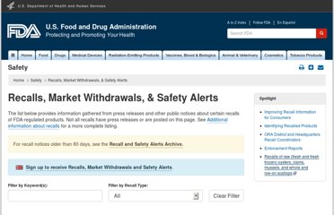 http://www.fda.gov/Safety/Recalls/default.htm