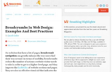 http://www.smashingmagazine.com/2009/03/17/breadcrumbs-in-web-design-examples-and-best-practices-2/