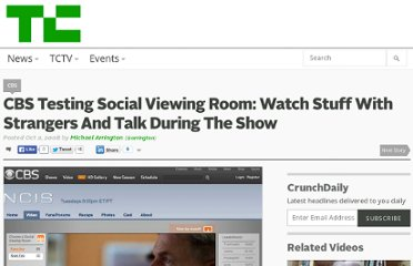 http://techcrunch.com/2008/10/02/cbs-testing-social-viewing-room-watch-stuff-with-strangers-and-talk-during-the-show/