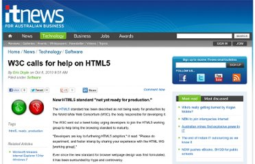 http://www.itnews.com.au/News/234630,w3c-calls-for-help-on-html5.aspx