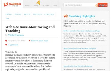 http://www.smashingmagazine.com/2006/11/24/buzz-monitoring-observing-und-tracking/