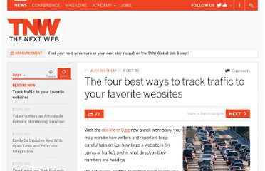 http://thenextweb.com/apps/2010/10/08/the-four-best-ways-to-track-traffic-to-your-favorite-websites/