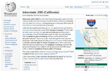 http://en.wikipedia.org/wiki/Interstate_280_(California)