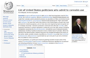 http://en.wikipedia.org/wiki/List_of_United_States_politicians_who_admit_to_cannabis_use