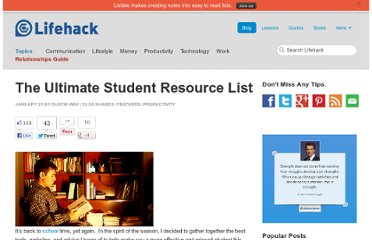 http://www.lifehack.org/articles/productivity/the-ultimate-student-resource-list.html