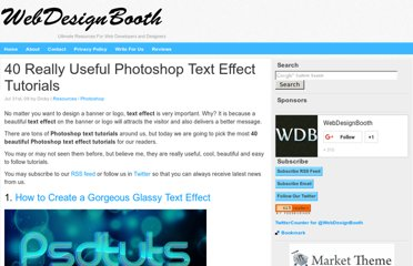 http://www.webdesignbooth.com/40-really-useful-photoshop-text-effect-tutorials/