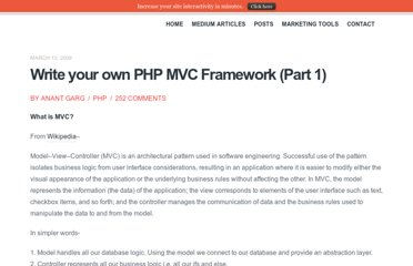 http://anantgarg.com/2009/03/13/write-your-own-php-mvc-framework-part-1/