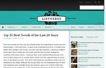 http://listverse.com/2010/10/10/top-10-best-novels-of-the-last-20-years/