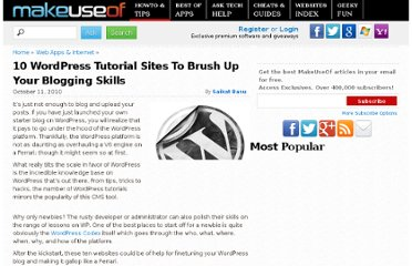 http://www.makeuseof.com/tag/10-wordpress-tutorial-sites-brush-blogging-skills/