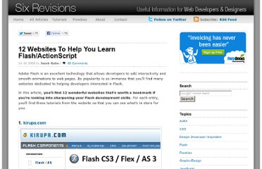 http://sixrevisions.com/flashactionscript/flash_tutorial_websites/
