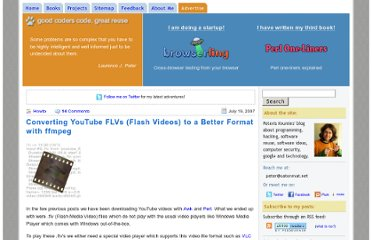 http://www.catonmat.net/blog/converting-youtube-flvs-to-a-better-format-with-ffmpeg/