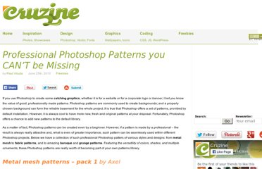 http://www.cruzine.com/2010/06/25/professional-photoshop-patterns/