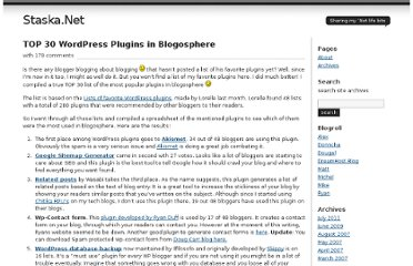 http://www.staska.net/2007/03/27/top-30-wordpress-plugins-in-blogosphere/