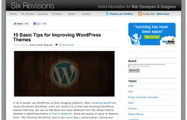 http://sixrevisions.com/wordpress/improve-wordpress-themes-tips/