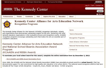 http://www.kennedy-center.org/education/kcaaen/recognition/home.html